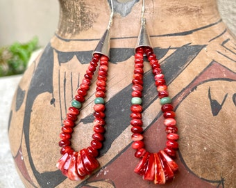 Spiny Oyster Heishi Bead Earrings with Jacla by Santo Domingo (Kewa) Lupe Lovato, Native American