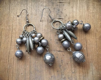 Vintage Ethnic Silver Bead Cluster Earrings for Women, Tribal Jewelry, Bohemian Earrings, Boho Hippie Dangles, Silver Ball Holiday Earrings