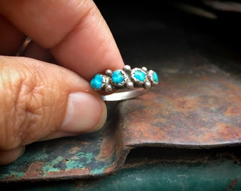 Dainty Turquoise Ring Size 4.5 for Pinky Finger, Zuni Snake Eye Native America Indian Jewelry