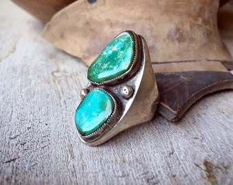 Heavy 1950s Turquoise Ring for Men Women Size 8, Vintage Southwestern Native American Jewelry