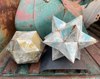 Pair of Vintage Rustic Metal Geometric Accent Pieces Outdoors Indoors, Yard Art, Garden Decor