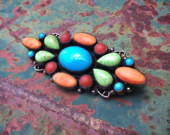 Multi Stone Turquoise Cluster Brooch Pin Vintage Leo Feeney (Converted from Pendant)