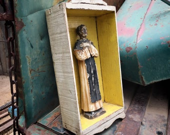 Chalkware Statue St. Martin de Porres in Painted Wood Nicho Wall Hanging, Vintage Religious Shrine