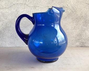 Vintage Cobalt Blue Mexican Glass Water Pitcher Southwestern Decor, Blue Glassware Kitchen Decor