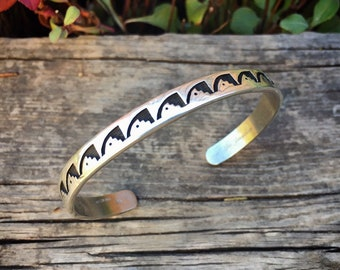 Stamped Sterling Silver Cuff Bracelet for Women with Small Wrist, Native American Indian Jewelry