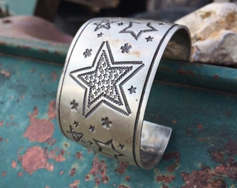79g Signed Navajo Sunshine Reeves Sterling Silver Cuff Bracelet for Women or Men, Native American Indian Jewelry