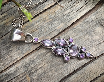 Vintage Sterling Silver Amethyst Pendant Necklace February Birthstone, Amethyst Jewelry