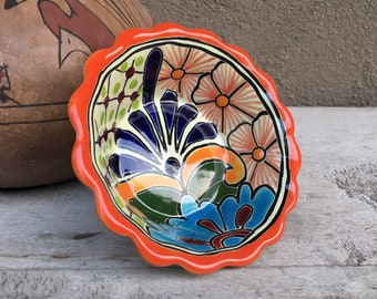 """Mexican Talavera Pottery Bowl 5"""" Orange and Blue, Rustic Southwestern Home Decor, Trinket Dish for Jewelry, Gift for Mom Neighbor Friend"""