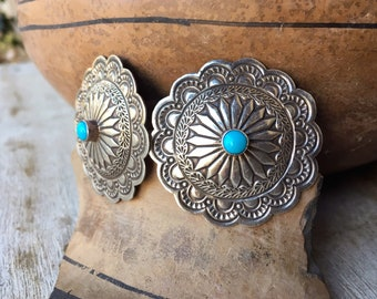 Clip On Earrings Turquoise Sterling Silver Conchos by Navajo Genevieve Blackgoat, Native American