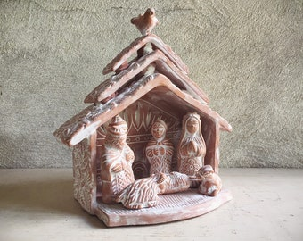 Vintage Folk Art Pottery Nativity Scene Ceramic Baby Jesus Mary Joseph in Manger, Southwestern Christmas