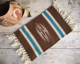 Southwestern Brown and Teal Placemat Mexican Decor, Woven Wall Hanging Table Mat, Wall Art, Small Zapotec Rug
