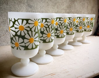 Six Milk Glass Coffee Cups with Mod Green and Yellow Daisy Floral Design, Vintage Midcentury Retro