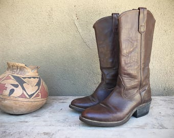 Cowboy boots Men's Size 6.5 D Women's 7.5 Double H Made in USA, Tall Boots Brown Leather