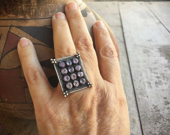 Vintage Amethyst Ring for Women Sterling Silver Boho Ring, Birthday February Birthstone
