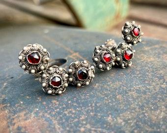 Vintage Screw Back Earrings Sterling Silver and Garnet Etruscan Revival, Estate Jewelry Women