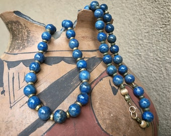 Vintage Lapis Lazuli Bead with Brass Spacer Necklace for Women, Estate Jewelry Southwestern Style