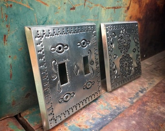 Three Southwestern Punched Tin Metal Light Switch Plates Covers, Vintage Mexican Made Switchplates