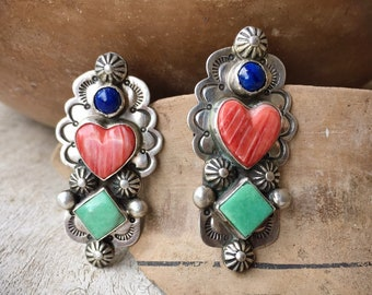 Sterling Silver Spiny Oyster Heart Green Turquoise Post Earrings for Woman, Turquoise Jewelry Lapis Lazuli