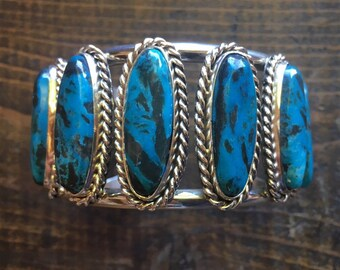 65gm Signed Navajo Seven Stone Turquoise Cuff Bracelet for Women, Native American Indian Jewelry, Anniversary Gift for Wife Girlfriend Her