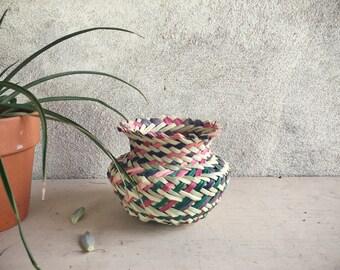 Vintage Tarahumara Indian Basket, Woven Basket, Small Pencil Holder Southwestern Decor