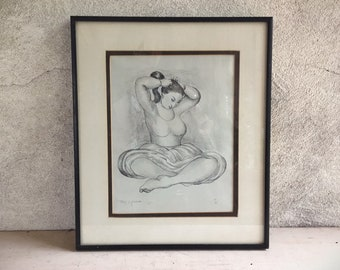 Framed R.C. Gorman Bookplate of 1970 Woman Combing Hair Lithograph, Native American Indian Art