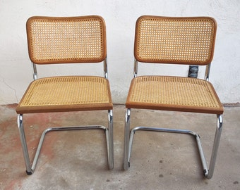 Two Marcel Breuer Style Side Chairs 1970s Furniture Bauhaus Design, Mid Century Modern, Vintage Cantilever Side Chair