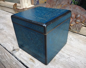 Square Mexican Blue Lacquer Painted Wood Box with Birds and Flowers, Folk Art, Southwestern Decor