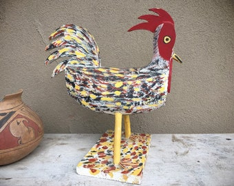 Vintage New Mexican Folk Art Carved and Painted Rooster, Southwestern Decor, Outsider Art