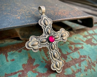 Sterling Silver Repousse Cross Brooch Pendant Dragon's Breath Opal, Navajo Native American Jewelry