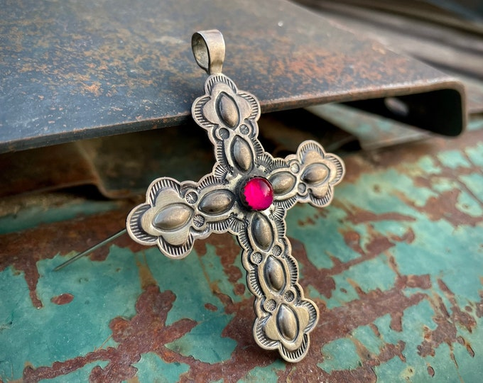 Featured listing image: Sterling Silver Repousse Cross Brooch Pendant Dragon's Breath Opal, Navajo Native American Jewelry