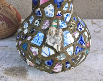 Early 20th Century French Pique Assiette Vase, Pottery Chard Mosaic Folk Art Memory Ware