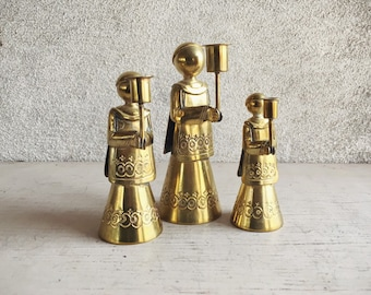 Vintage Small Yet Heavy Brass Altar Boy Candleholders for Taper Candles Christmas Decor Made in Mexico