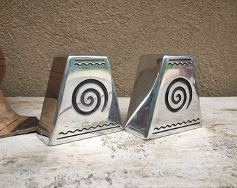 Set of Two Small Yet Heavy Pewter Silver Tone Candlestick Holders for Table Top. Modern Rustic