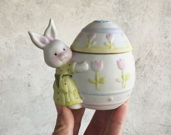 Porcelain Easter Bunny Trinket Box, Vintage Easter Decor, Easter Gift for Girl