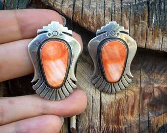 24g Orange Spiny Oyster Sterling Silver Post Earrings, Navajo James Martin Native America Jewelry