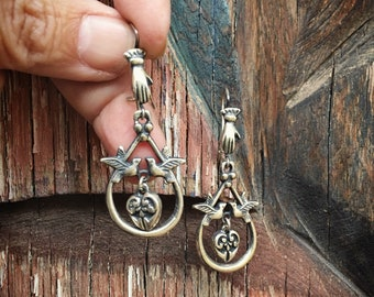 Mexican Silver Earrings Hand with Doves and Heart, Silver Jewelry, Hand Jewelry, Frida Style