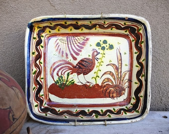 Old Mexican Pottery Tlaquepaque Dish with Bird Design, Wall Plate, Rustic Decor Farmhouse