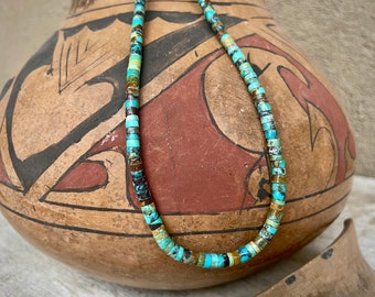 """Turquoise Heishi Necklace 19"""" by Santo Domingo Pueblo Jeanette Calabaza, Native American Jewelry"""