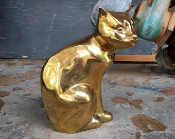 Vintage Brass Cat Statue or Door Stop, Siamese Kitty Lover Gift, Hollywood Regency Decor
