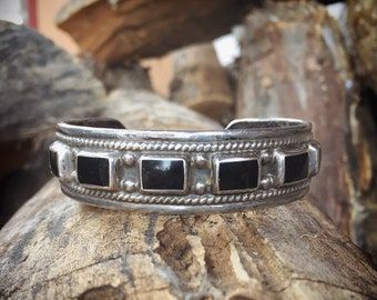 Heavy Vintage Sterling Silver and Black Onyx Cuff Bracelet for Women, Taxco Mexican Jewelry Southwestern Style, Girlfriend Gift for Her Wife