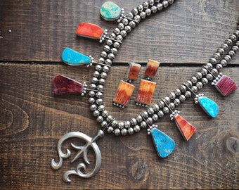 138gm Spiny Oyster and Turquoise Squash Blossom Necklace or Earrings, Native American Indian Jewelry, Birthday Anniversary Gift for Wife Her