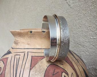 Heavy Sterling Silver 12K Gold Fill Cuff Bracelet for Women or Men, Native American Jewelry