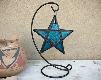 Vintage Metal and Blue Pressed Glass Star Candle Holder, Hanging Morocco Lantern, Bohemian Decor
