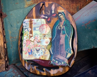 Vintage Decoupage Our Lady of Guadalupe and Grandmother Saying on Wood Slice Board Wall Decor