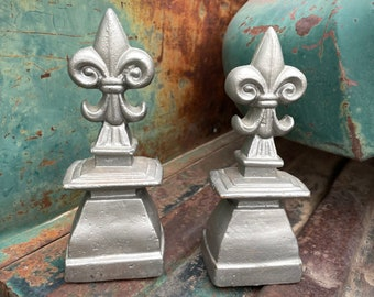 Pair of Super Heavy Fleur de Lis Paperweights Bookends, French Country Decor Library, Shelf Accent