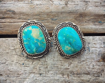 Vintage Turquoise Earrings for Women, Signed Navajo Native American Indian Jewelry, Post Earrings