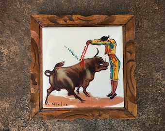 Matador and Toro Bull Ceramic Tile in Wood Frame Trivet or Wall Hanging Made in Mexico, Southwestern Kitchen Decor, Rustic Home Style