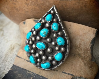 Navajo Jewelry Big Pendant with Natural Turquoise Sterling Silver, Native America Indian Necklace