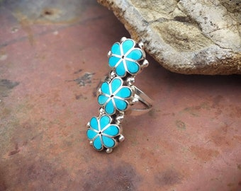 Sterling Silver Turquoise Flower Ring for Women Girl Size 5, Native American Indian Jewelry