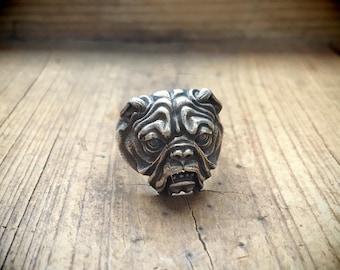 Vintage Sterling Silver Ring Size 8.25 English Bulldog Ring, Dog Ring, Boxer Dog Lover Gift for Men
